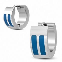 7mm |Boucles d'oreilles Huggie en acier inoxydable double barre émaillée bleu (paire)