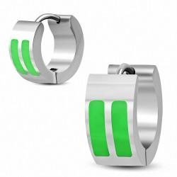 7mm |Boucles d'oreilles créoles Huggie en acier inoxydable émaillé vert à deux barres (paire)