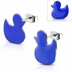 Boucles d'oreilles du petit canard émaillé bleu royal en acier inoxydable (paire)
