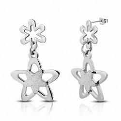 Boucles d'oreilles en forme d'étoile en acier inoxydable sablées avec une longue goutte (paire)