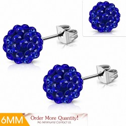 6mm |Boucles d'oreilles Shamballa en acier inoxydable Argil Disco Ball avec Blue CZ Capri (paire)