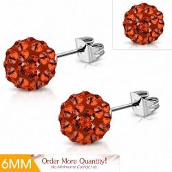6mm  Boucles d'oreilles Shamballa en acier inoxydable Argil Disco Ball avec orange CZ Jacinthe (paire)