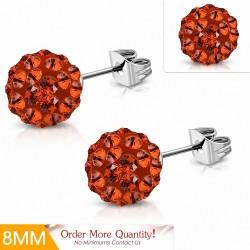 8mm |Boucles d'oreilles Shamballa en acier inoxydable Argil Disco Ball avec orange CZ Jacinthe (paire)