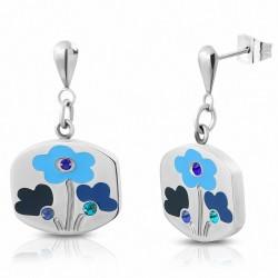 Boucles d'oreilles en forme de goutte de fleur émaillée en acier inoxydable avec saphir bleu CZ (paire)