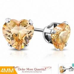 4mm |Boucles d'oreilles en forme de coeur en acier inoxydable avec cœur d'amour avec topaze CZ (paire)