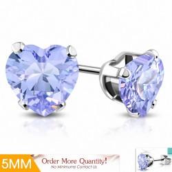 5mm |Boucles d'oreilles en forme de coeur en forme de coeur en acier inoxydable avec cœur violet / violet CZ (paire)