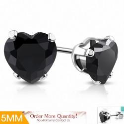 5mm |Boucles d'oreilles en forme de coeur en forme de coeur en acier inoxydable avec cœur en Jet Black CZ (paire)
