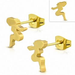 Boucles d'oreille dame / femme sexy en acier inoxydable plaqué de couleur d'or (paire)