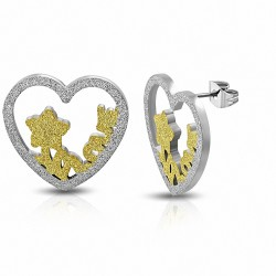 Créoles en acier inoxydable sablées à deux tons en forme d'étoile avec un coeur en forme d'étoile - Love monogram (paire)
