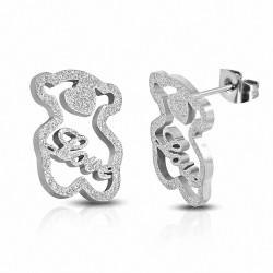 Boucles d'oreilles clous monogramme ourson sablé en acier inoxydable (paire)