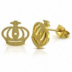 Boucles d'oreilles clous Royal Princess Crown en acier inoxydable plaqué couleur doré avec sablage (paire)