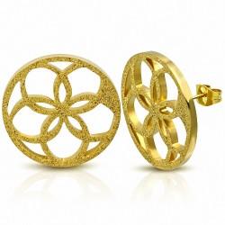 Boucles d'oreilles clous rondes en forme de cercle de fleurs découpées en acier inoxydable plaqué couleur or (paire)