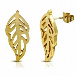 Boucles d'oreille en forme de feuille d'arbre en acier inoxydable plaqué de couleur d'or (paire)