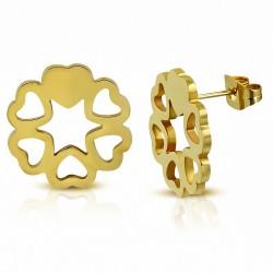 Boucles d'oreilles clous en forme de cœur en forme de coeur en acier inoxydable doré avec couleur dorée