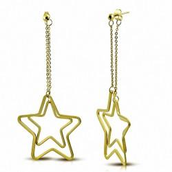 Boucles d'oreille Boucles d'oreilles clous à longue goutte d'étoiles concentriques en acier inoxydable doré