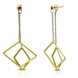Boucles d'oreille Boucles d'oreilles clous longues et plates en forme de carré concentriques en acier doré