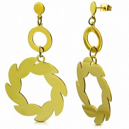 Boucles d'oreilles pendantes en forme de goutte de fleurs en spirale en acier inoxydable plaqué en couleur d'or (paire)
