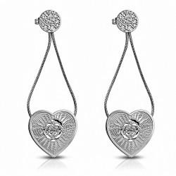 Boucles d'oreilles en filigrane en acier inoxydable avec fleurs roses et coeur en forme de goutte longue (paire)