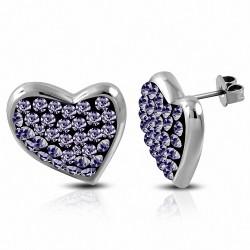 Boucles d'oreilles clous en forme de cœur avec cœur pavé en acier inoxydable avec violet / violet CZ (paire)