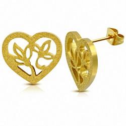 Boucles d'oreille clous en forme de coeur en forme de coeur