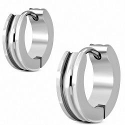 4mm |Boucles d'oreilles Huggie créoles en acier inoxydable (paire)