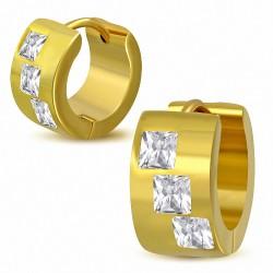 7mm |Boucles d'oreilles créoles en acier inoxydable doré baguette transparente CZ (paire)