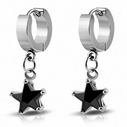 Boucles d'oreilles Huggie étoile Drop en acier inoxydable avec Jet CZ (paire)