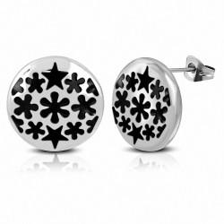 Boucles d'oreilles rondes en forme de cercle d'étoiles rondes en acier inoxydable émaillé noir (paire)