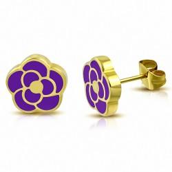 Boucles d'oreilles en forme de fleur de rose émaillée en acier inoxydable doré avec améthyste