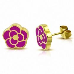 Boucles d'oreilles en forme de fleur de rose émaillé rose en acier inoxydable doré rose (paire)