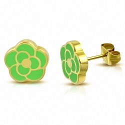 Boucles d'oreilles en forme de fleur de rose émaillé vert clair en acier inoxydable plaqué de couleur d'or (paire)
