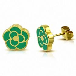 Boucles d'oreilles en forme de fleur de rose émaillé vert en acier inoxydable doré (paire)