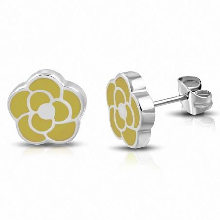Boucles d'oreilles en forme de fleur de rose émaillée jaune en acier inoxydable (paire)