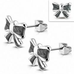 Boucles d'oreilles clous en ruban d'acier inoxydable bicolores avec noeud (paire)