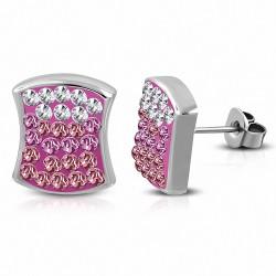 Boucles d'oreilles carrées concaves en acier inoxydable avec pavé carré transparent / rose CZ (paire)