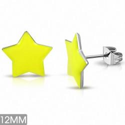 12mm  Boucles d'oreilles clous étoiles en acier inoxydable émaillé jaune (paire)