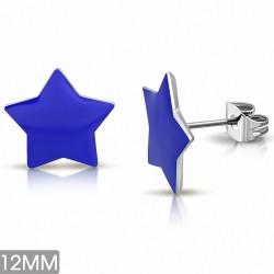 12mm |Boucles d'oreilles clous étoiles en acier inoxydable émaillé bleu (paire)