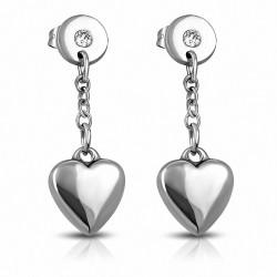 Pendants d'oreilles en forme de coeur en acier inoxydable avec coeur en acier inoxydable avec paire en zircone