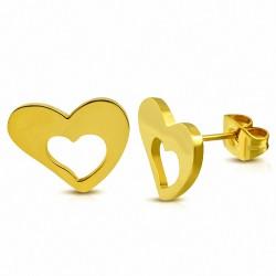 Boucles d'oreilles clous en forme de coeur d'amour en acier inoxydable plaqué de couleur d'or (paire)
