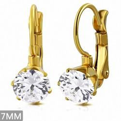 7mm  Boucles d'oreilles dormeuses à cercle rond avec goupilles en acier inoxydable de couleur dorée