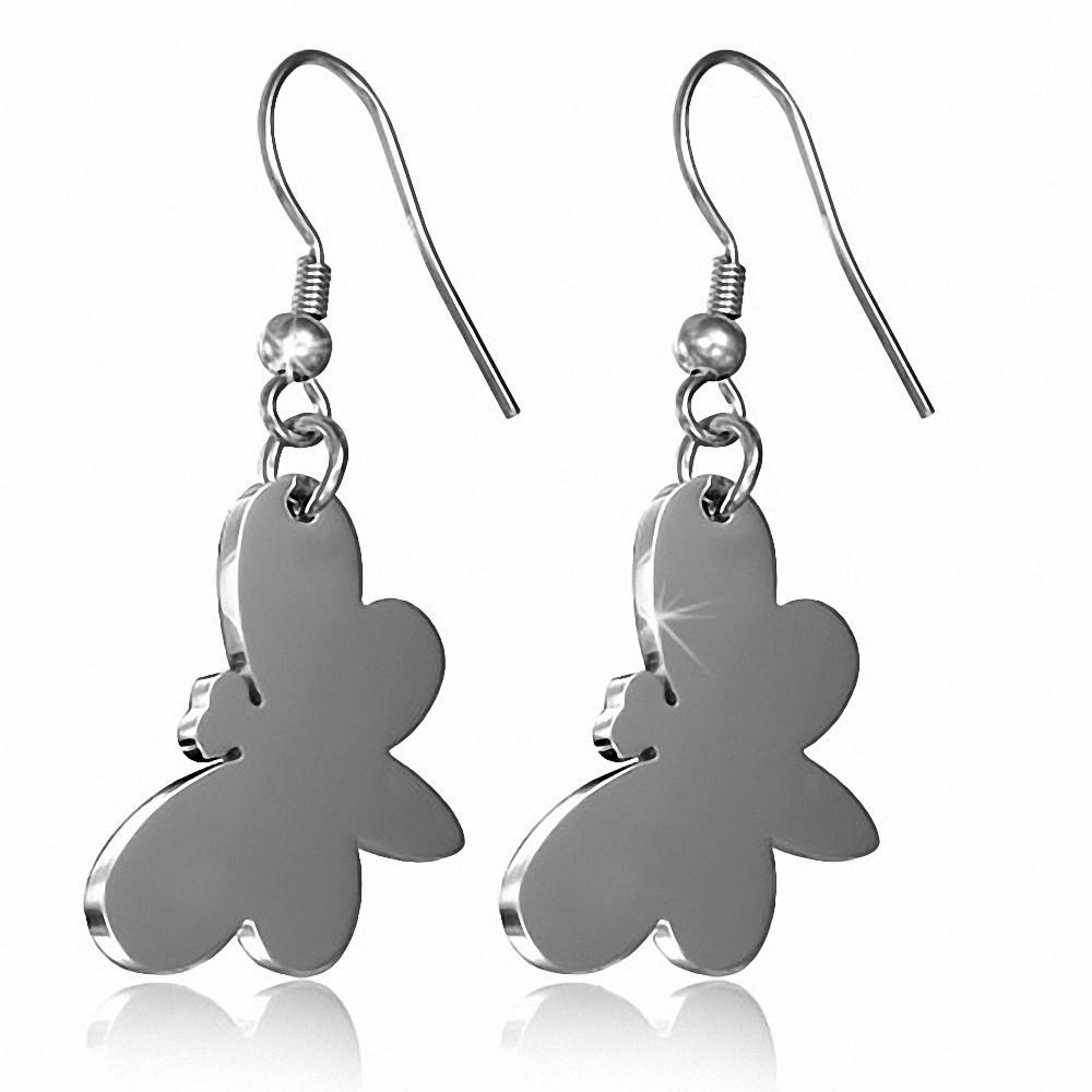 Boucles d'oreilles à long crochet en acier inoxydable avec papillon (paire)