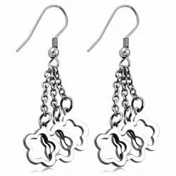 Boucles d'oreilles en forme de boucle d'oreille à crochet long en forme de fleur en acier inoxydable (paire)