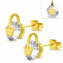 Boucles d'oreilles Papillon en acier inoxydable doré avec cercle rond et cercle serti de cristaux CZ (paire)