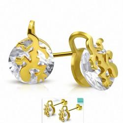 Boucles d'oreille rondes en forme de cercle de lézard porte-bonheur en forme de spirale en acier inoxydable doré