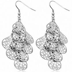 Boucles d'oreilles en forme de larme de fleur en filigrane en acier inoxydable (paire)