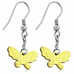 Boucles d'oreilles à long crochet forme de papillon 2 tons en acier inoxydable (paire)