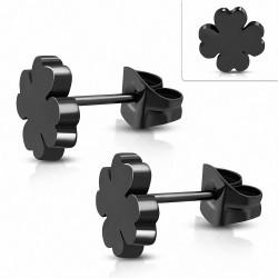 Boucles d'oreilles clous en forme de fleur de trèfle en acier inoxydable avec cœur en acier inoxydable noir (paire)