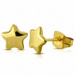 7mm |Boucles d'oreilles étoile en acier inoxydable plaqué en couleur dorée (paire)
