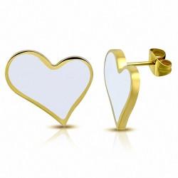 Boucles d'oreilles clous en forme de coeur d'amour en acier émaillé blanc doré blanc (paire)