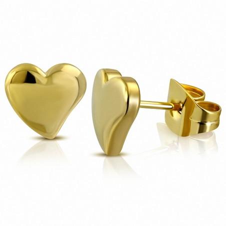 Boucles d'oreilles en forme de coeur d'amour en acier inoxydable plaqué en couleur d'or (paire)